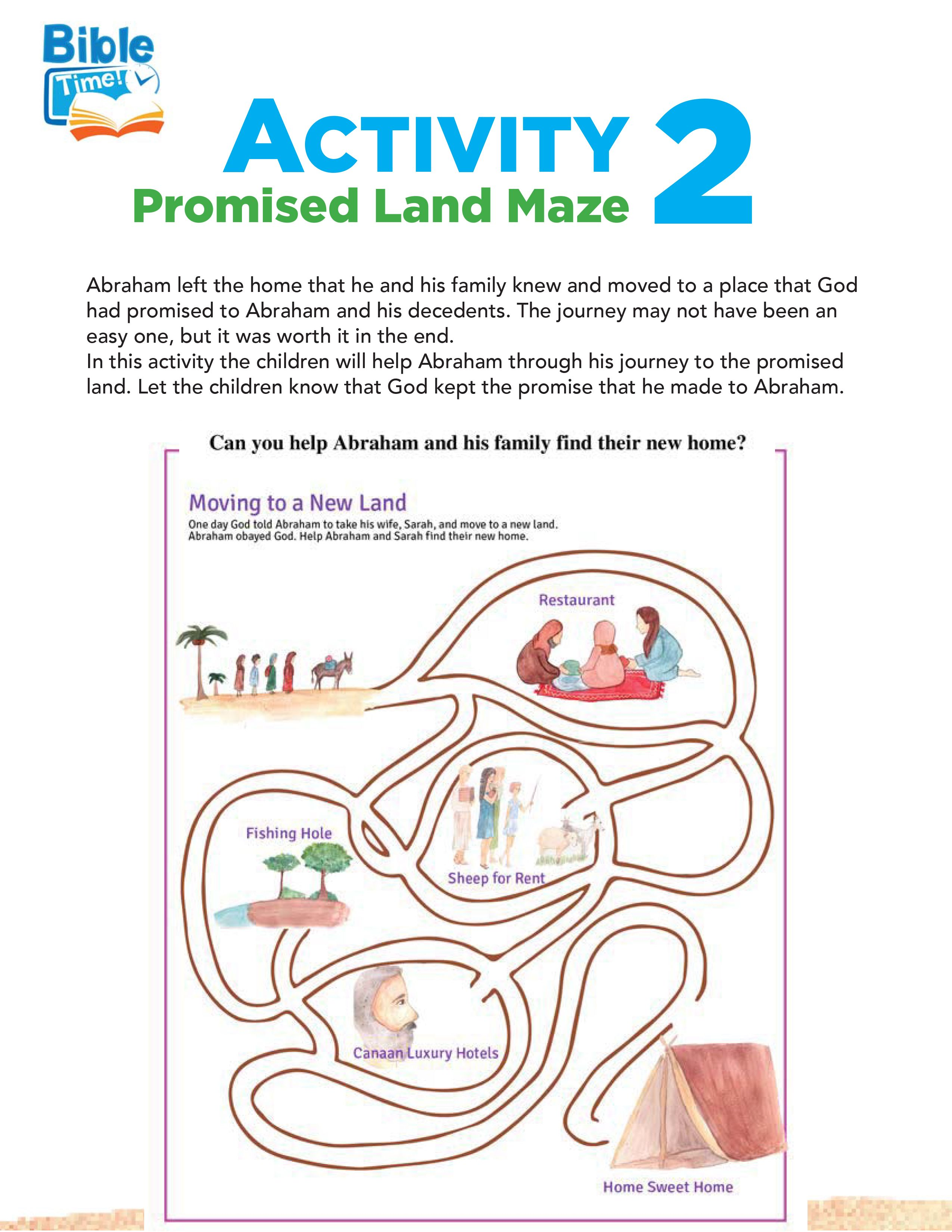 Free Printable Maze Puzzle For The Bible Story Of Abraham