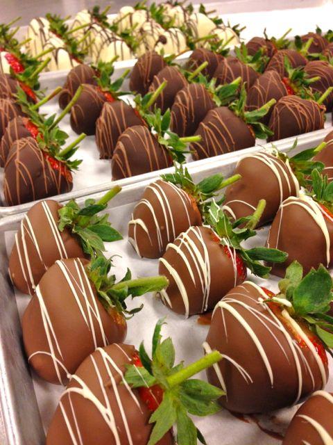 Chocolate-covered strawberries - dark, white and milk chocolate! #carlosbakery