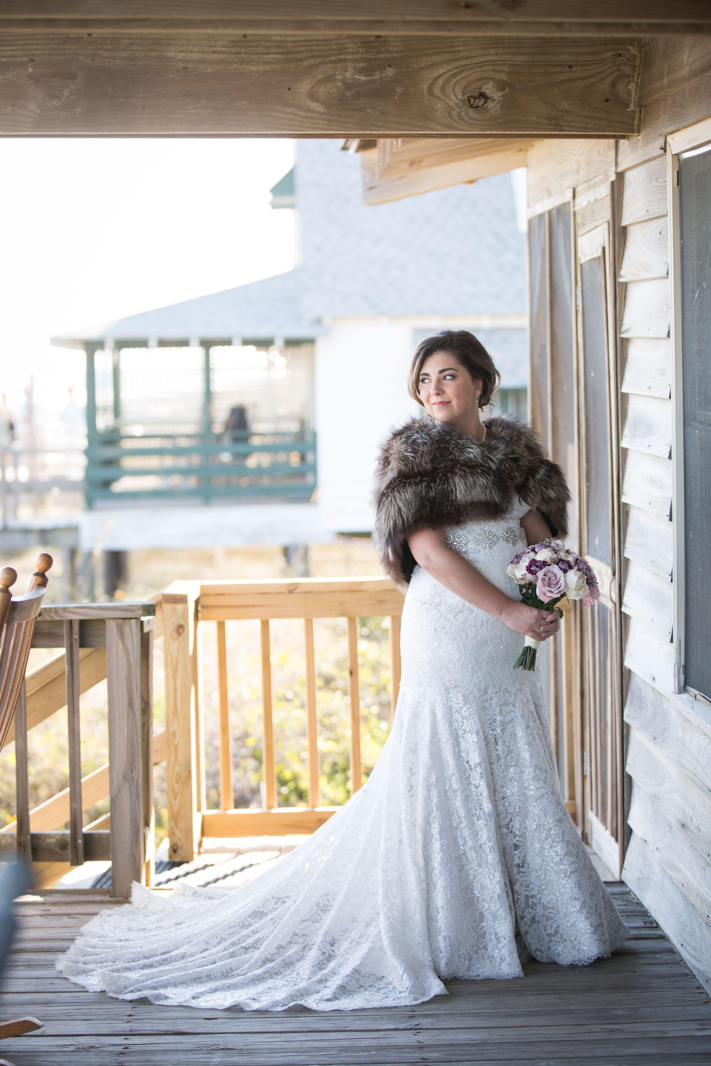 Fur wedding dress  VFRBrides Alexa and Ehrich Clark had a beautiful outdoor wedding in