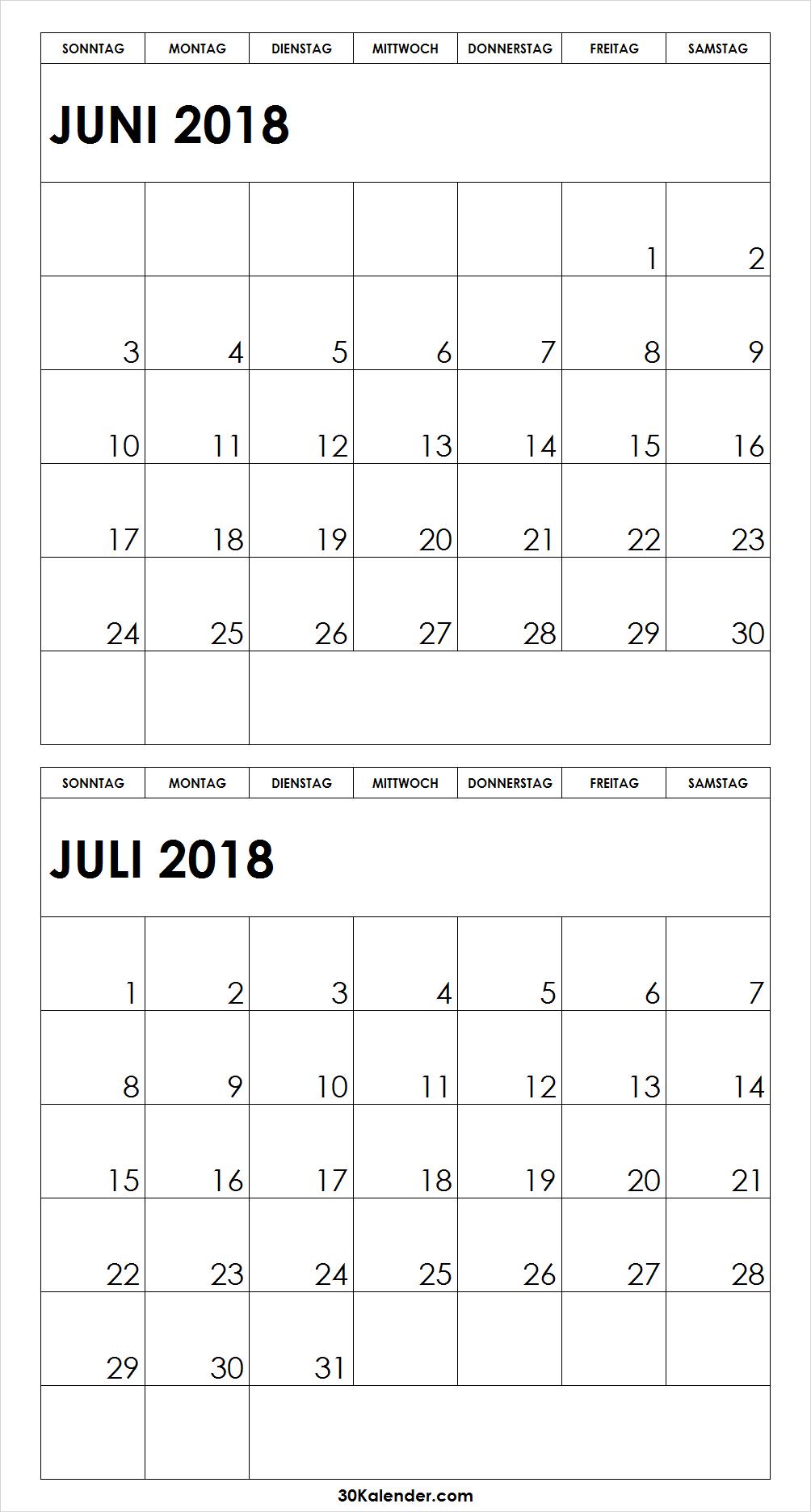 Drucken 2018 Juni Juli Kalender | 2018 | Pinterest | Juli kalender ...