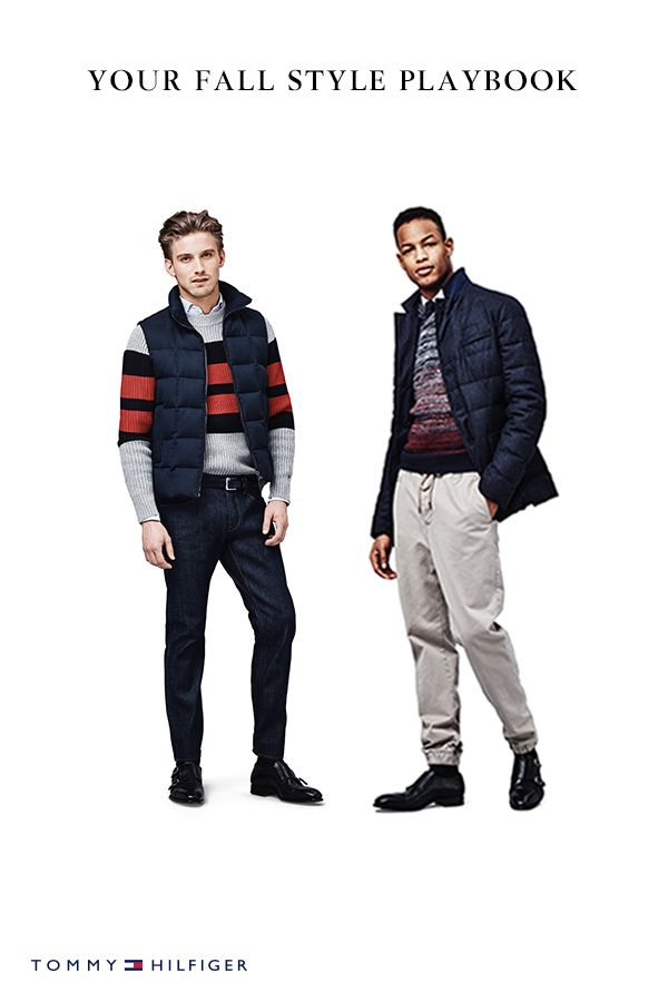 Cooler days call for tailored layers and warm jackets. A men's down jacket paired with a sweater, for example, is a great way to bundle up this fall.