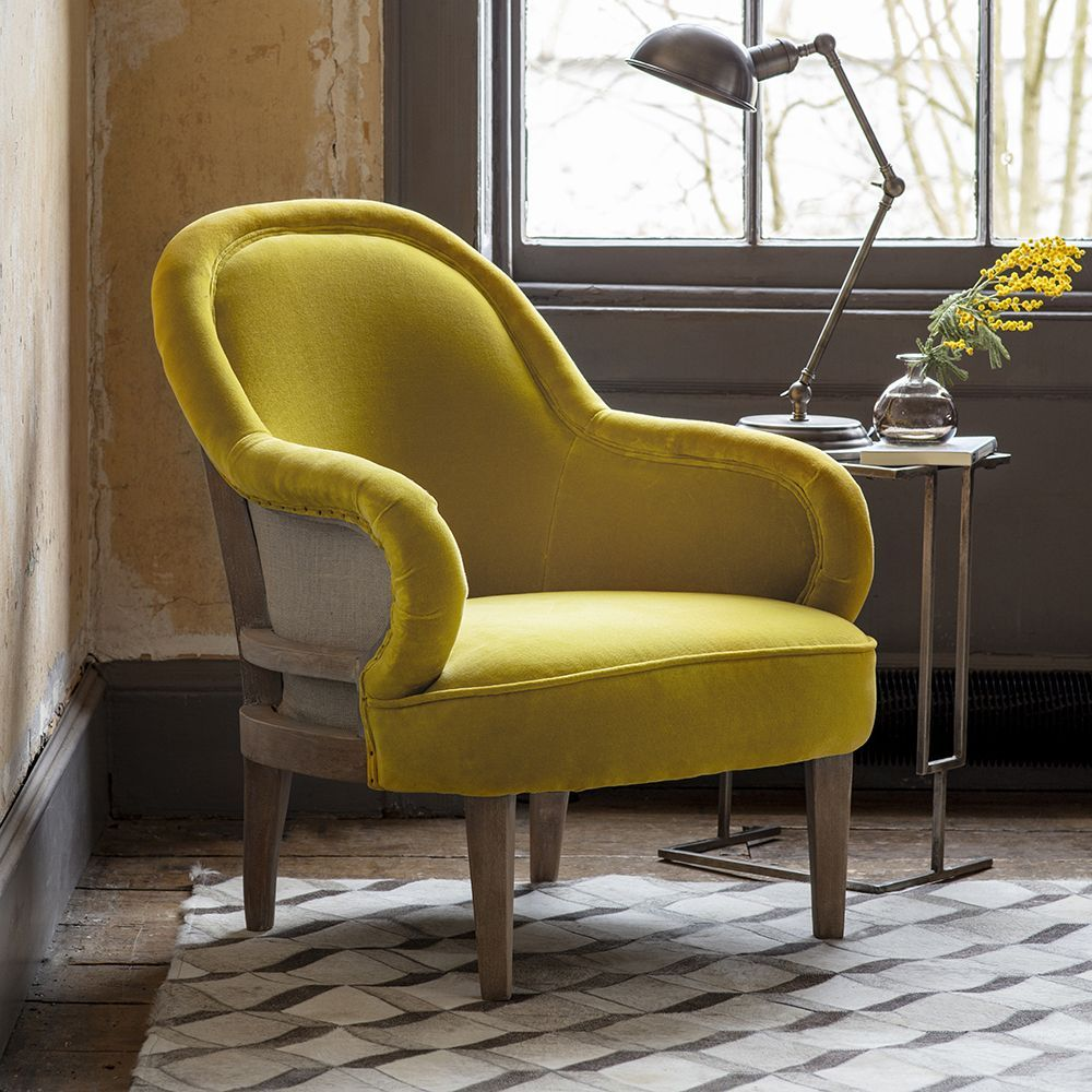 Grayson Armchair in Mustard Yellow Velvet (With images