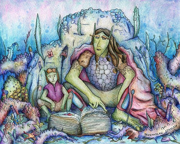 Title  The Family Book   Artist  Przemyslaw Stanuch   Medium  Painting - Watercolor Pencils, Rapidograph