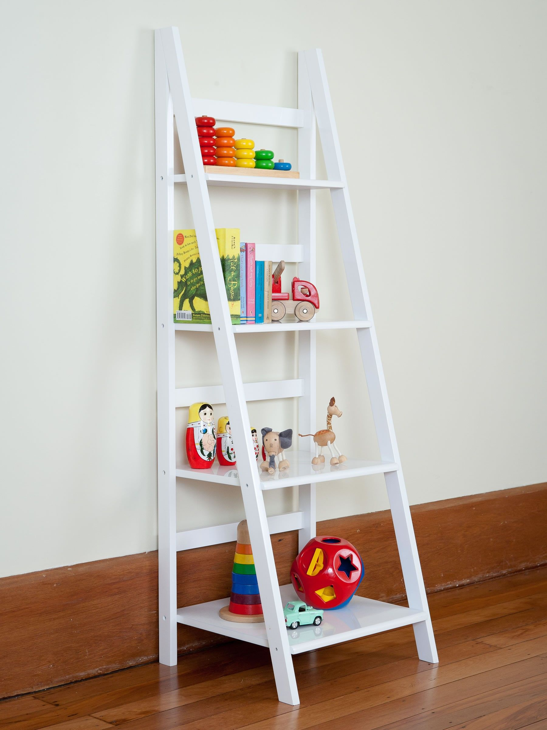Enjoyable White Wooden Ladder Shelf As Toys Storage Added White Wall Painted Also Wood Floors In Kids Room D