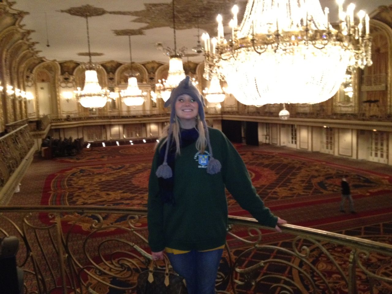 Me looking very un-glamorous at the ballroom in the Hilton Chicago: Wedding venue contender
