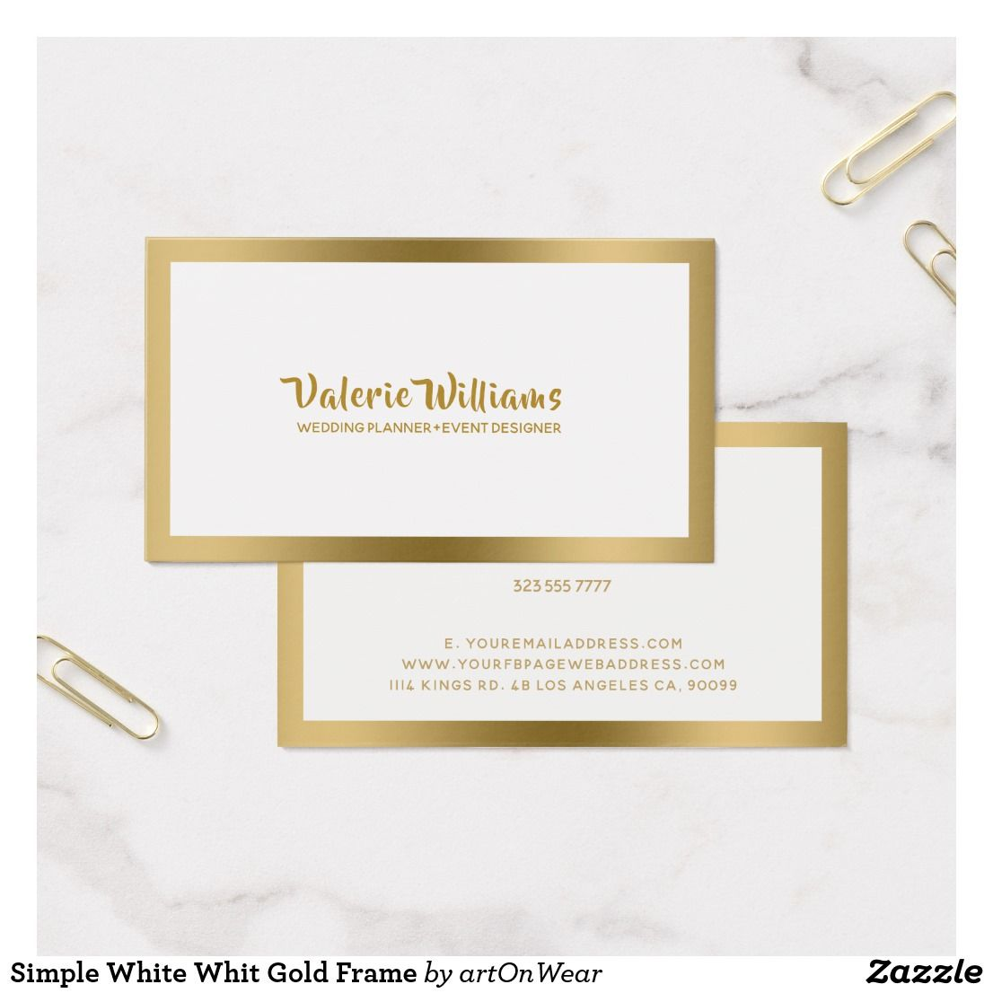 Simple White Whit Gold Frame Business Card