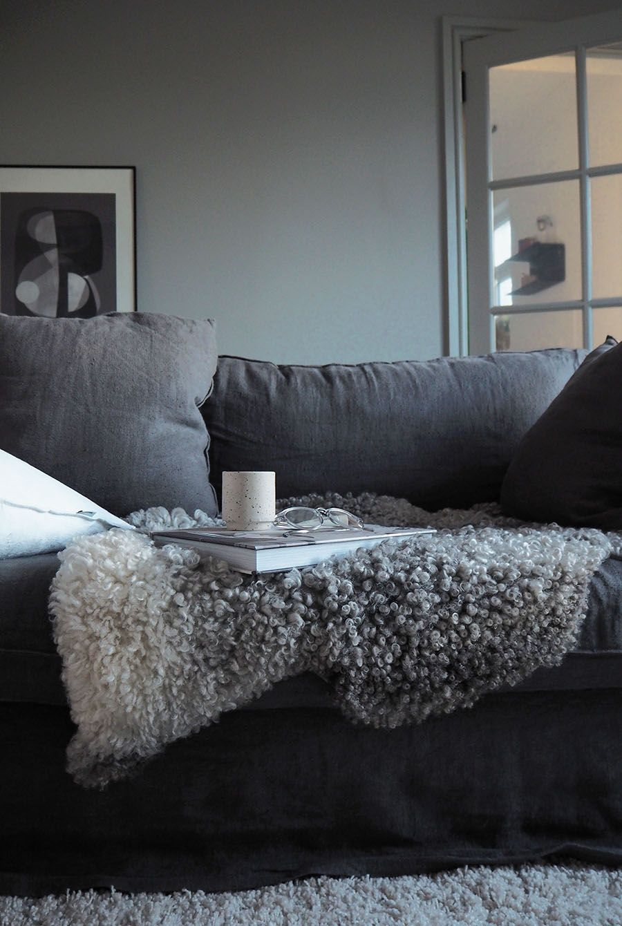 cosy scandinavian inspired living room with a dark grey linen sofa rh pinterest com