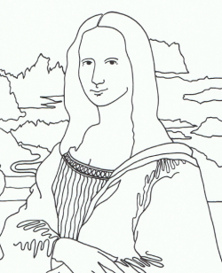 art appreciation famous paintings turned coloring pages - Mona Lisa Coloring Page Printable