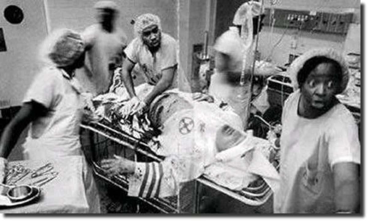Black physicians treating in the ER a member of the Ku Klux Klan