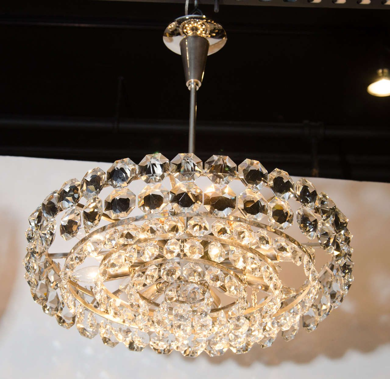 View This Item And Discover Similar Chandeliers Pendants For At Exceptional Mid Century Modernist Hand Cut Crystal Drum Chandelier By