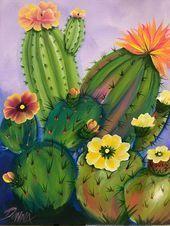 Photo of Gemälde eines blühenden Kaktus #Blühender #Cactus #Cactus art #Cactus garden …
