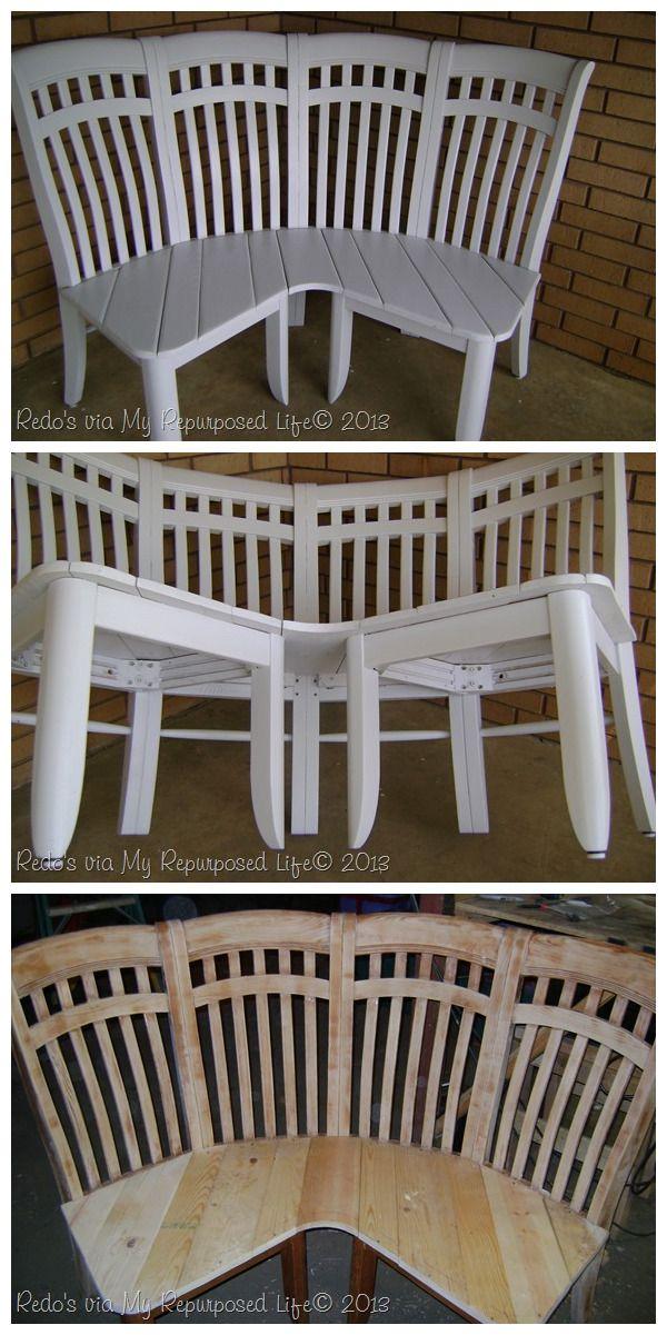 4 repurposed chairs make a great corner