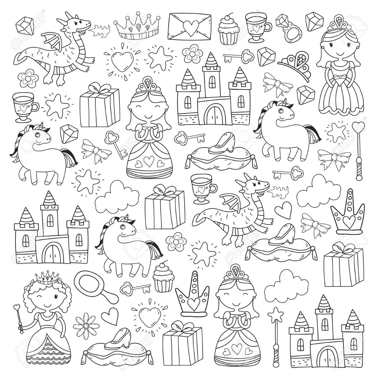Set of doodle princess and fantasy icon Illustration ,