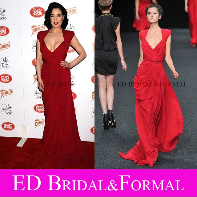 Dita Von Teese Dress Red Chiffon Celebrity Prom Gown Formal ...