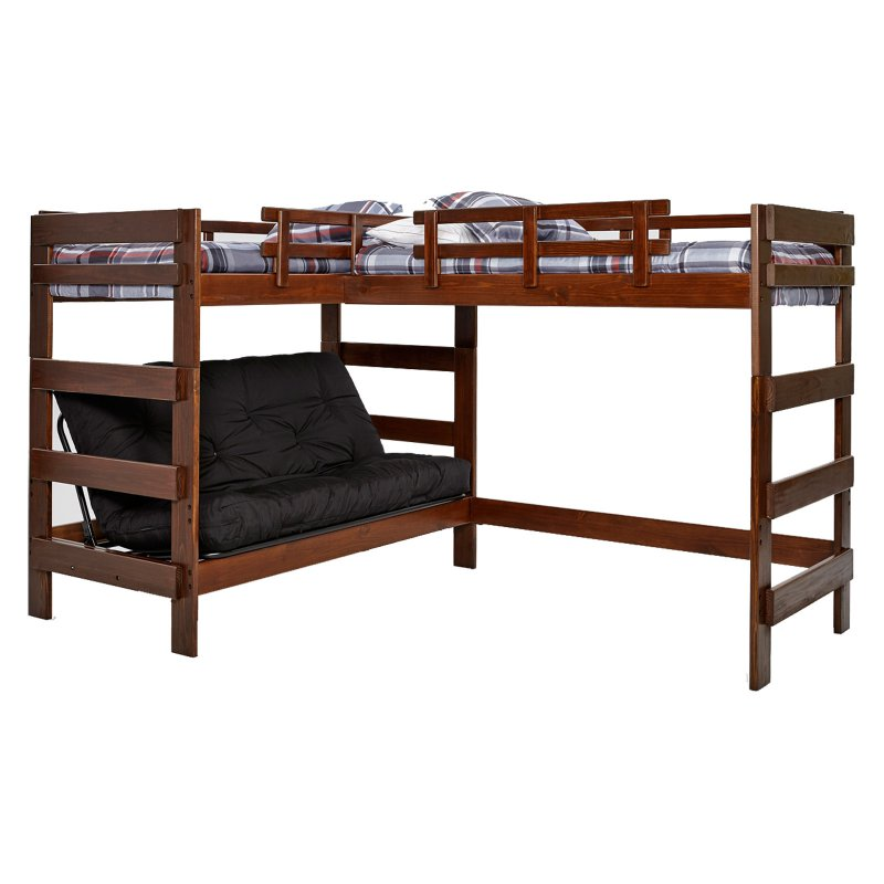Woodcrest L Shaped Twin Over Futon Bunk Bed With Extra Loft