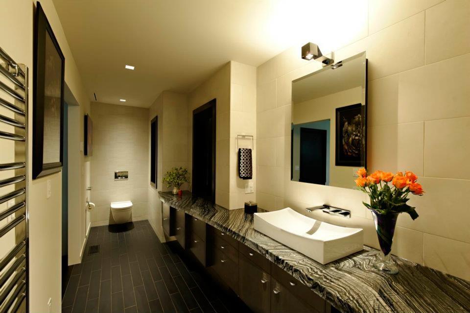 Kenya Black marble vanity top. Private residence, Spokane ...
