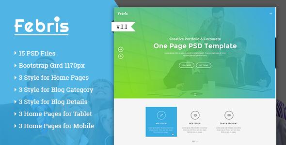 Febris Porfolio, Corporate One Page PSD Template (PSD