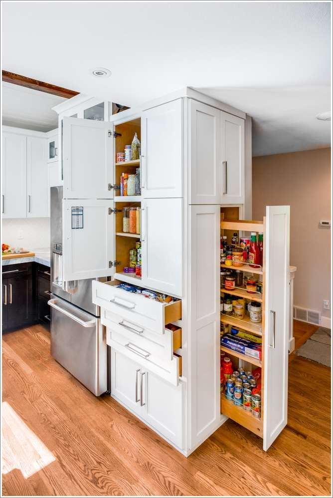 A Custom Pullout Pantry Creates Extra Storage Space In This Contemporary Kitchen Plentiful Drawers And Cabinets Help Stow Away Other Essentials While