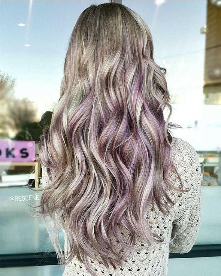 Subtle Metallic Lavender Highlights In Brunette Hair Pink Blonde Hair Blonde Hair With Highlights Underlights Hair