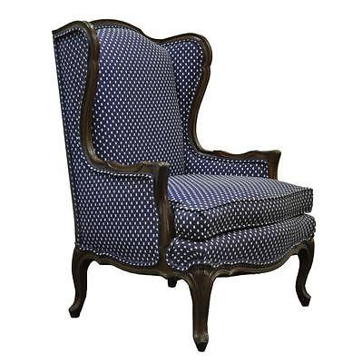 country style wingback chairs barcelona chair replica vintage french louis xv carved wood wing back lounge arm