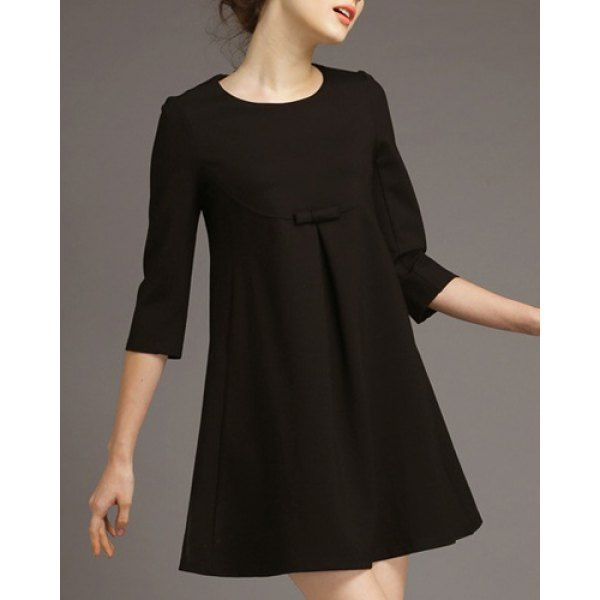 Sweet Round Neck 3/4 Sleeve Bowknot Embellished A-Line Women's Dress