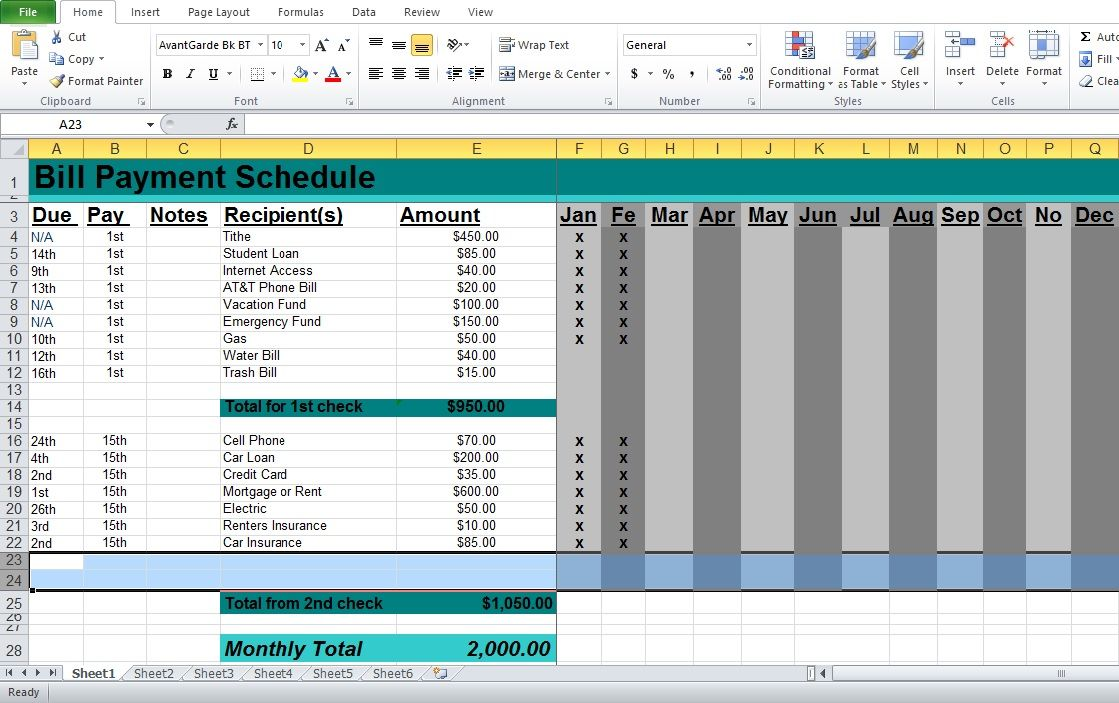 professional bill pay calendar template excel templates