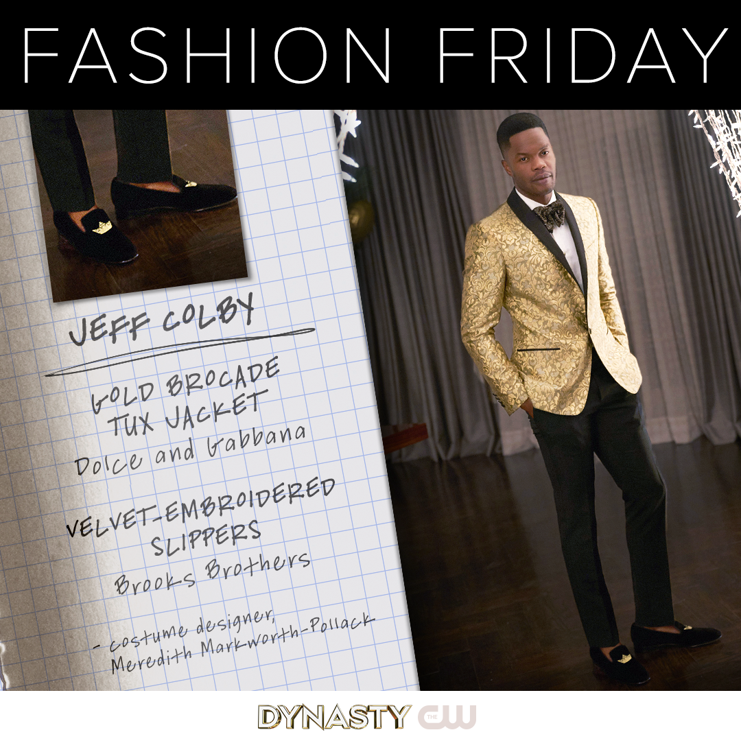 Jeff Colby Is Wearing A Dolce And Gabbana Gold Brocade Tux Jacket And Velvet Embroidered Slippers From Brooks Brothers C Fashion Jeff Colby Fashion Friday