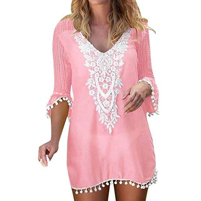 2019 Summer Swimwear Lace Patchwork Hollow Beach Dress Women Pom Pom Trim Tassel Beach Cover Up Beach Wear Saida De Praia Pareos - Blue XXL