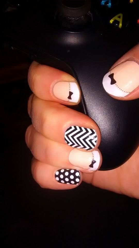 All black and white and formal this time! French tip Bows, Black and ...