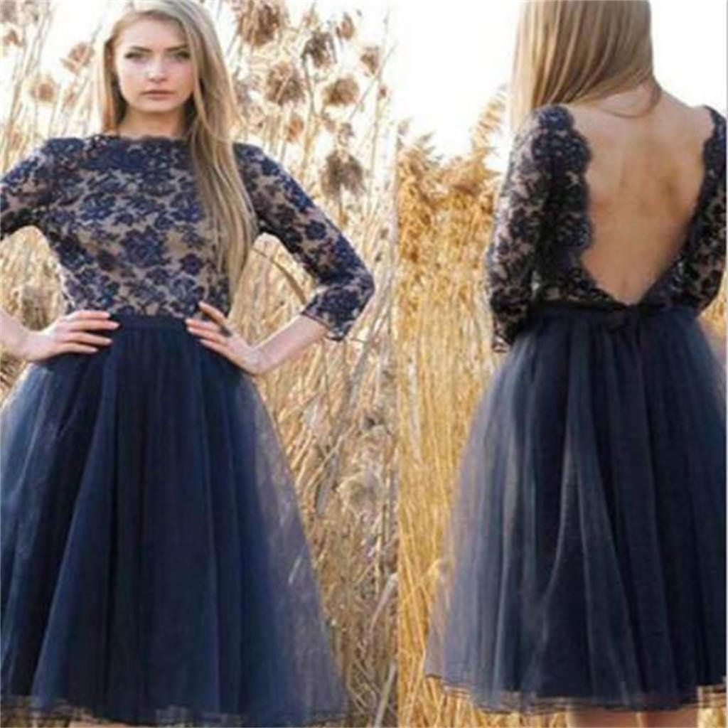 Tulle homecoming dressnavy blue prom dresses backless homecoming