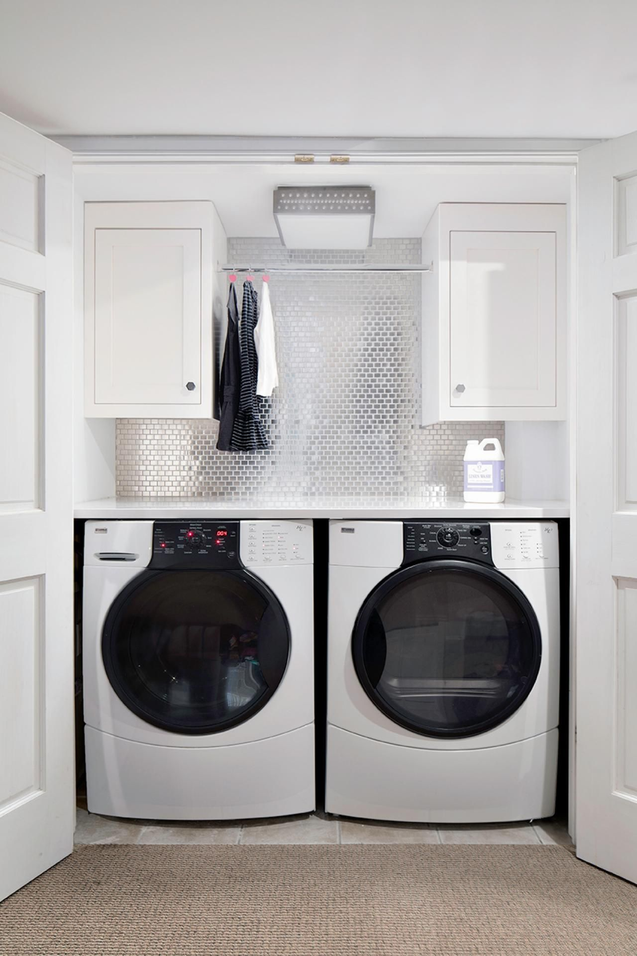 In This Small Laundry Closet Not An Inch Of Space Is Wasted A
