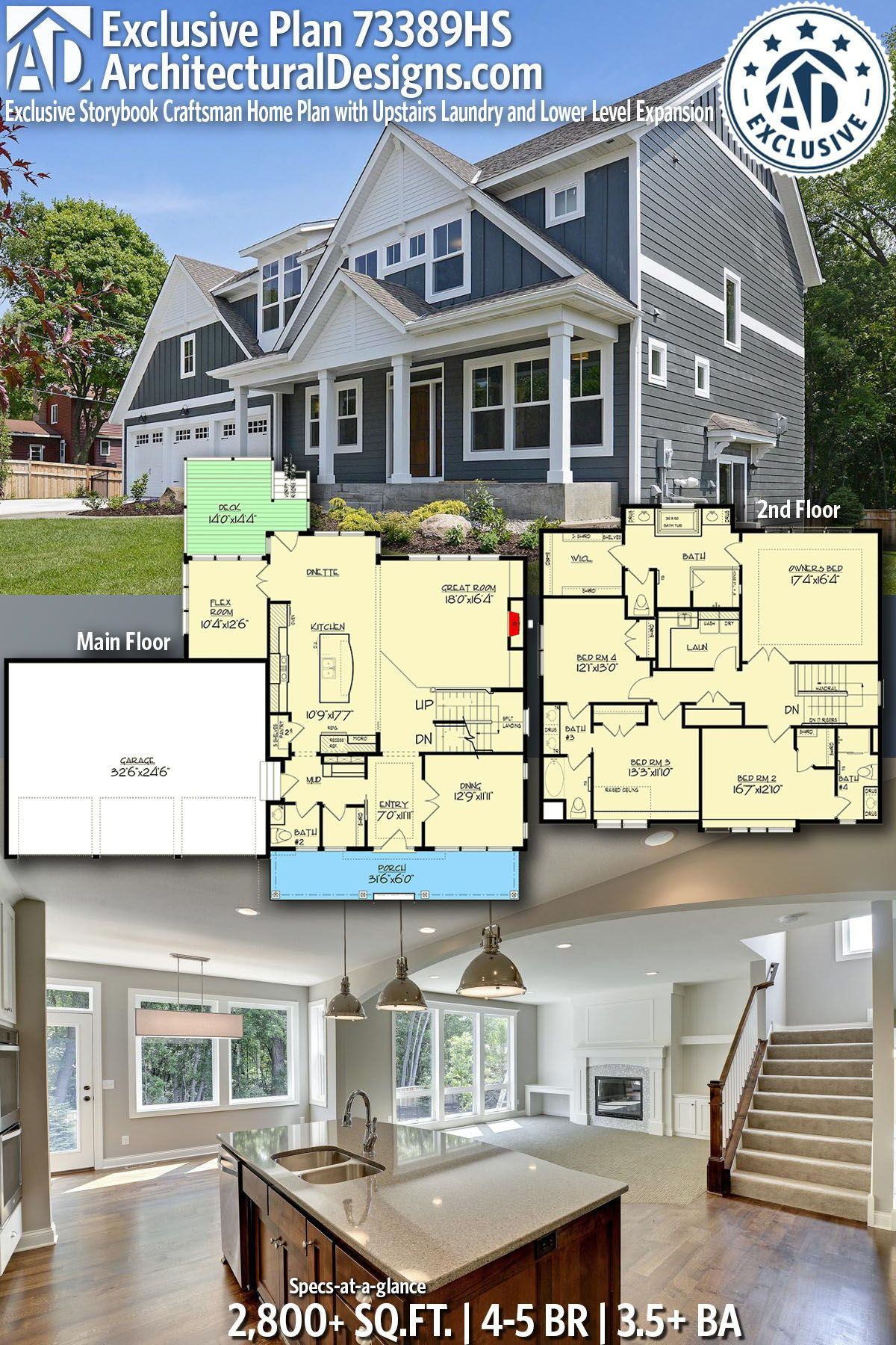 Architectural designs exclusive home plan 73389hs gives you 4 5 bedrooms 3 5 baths and 2800 sq ft with an optional lower level ready when you are