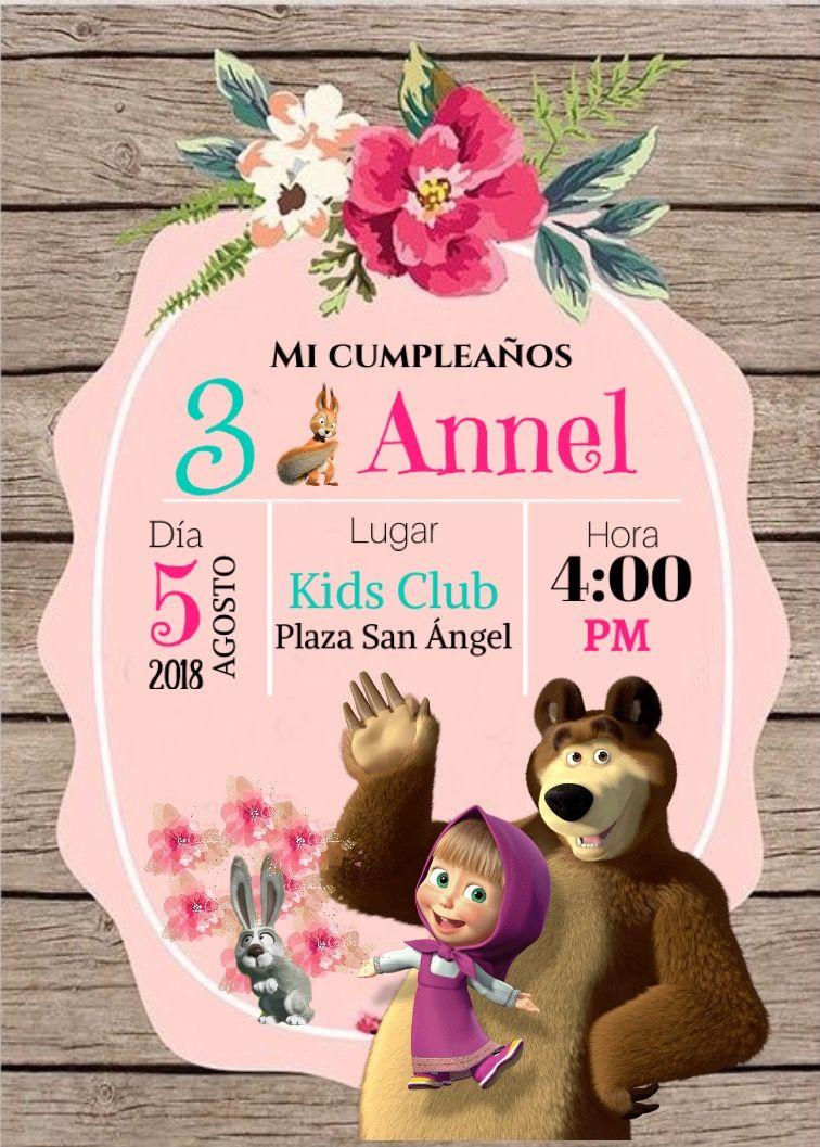 Invitación Masha y el Oso Fiesta Masha y el Oso en 2019 Masha y el oso, Decoracion masha y
