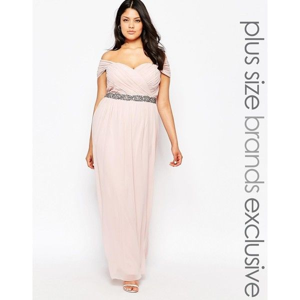 Little Mistress Plus Bardot Maxi Prom Dress With Waist Embellishment ...