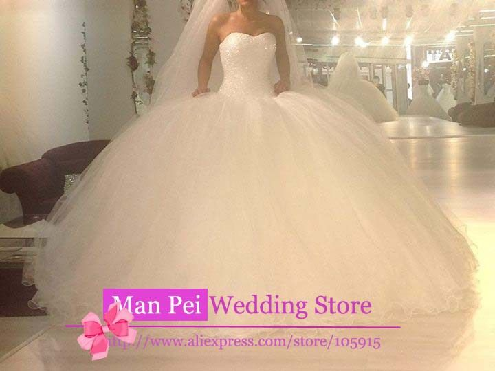 Online Shop Luxury Custom Made Sweetheart Strapless Beading Shining Lace Up Puffy Big Ball Gown Wedding Dress Vestido De Novia 2015