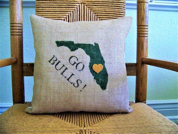 University of south Florida pillow, Graduations gift, bulls pillow, USF dorm room decor, Florida college