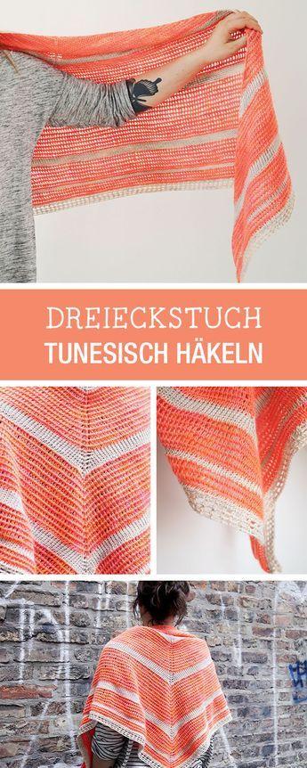Diy Anleitung Dreieckstuch Tunesisch Häkeln Herbstaccessoires Für