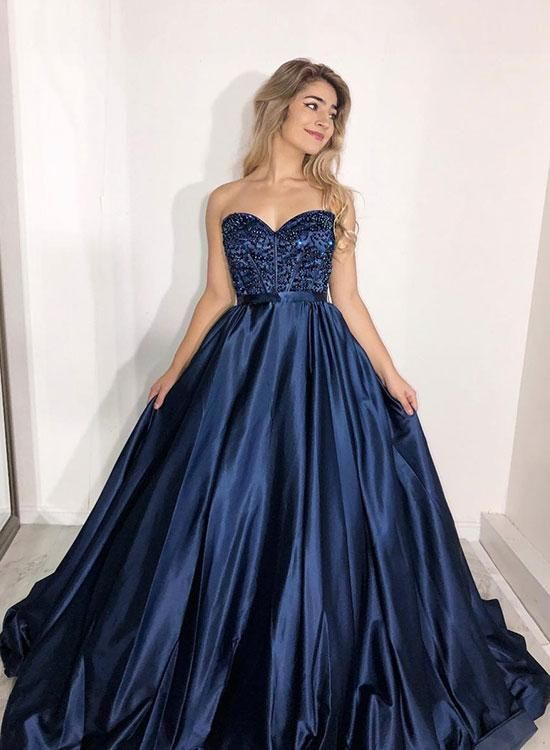 7502c85630f Sweetheart Neck Dark Blue Beaded Prom Dress