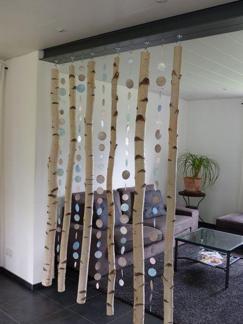 raumtrenner aus hakenmagneten und birkenst mmen deko. Black Bedroom Furniture Sets. Home Design Ideas