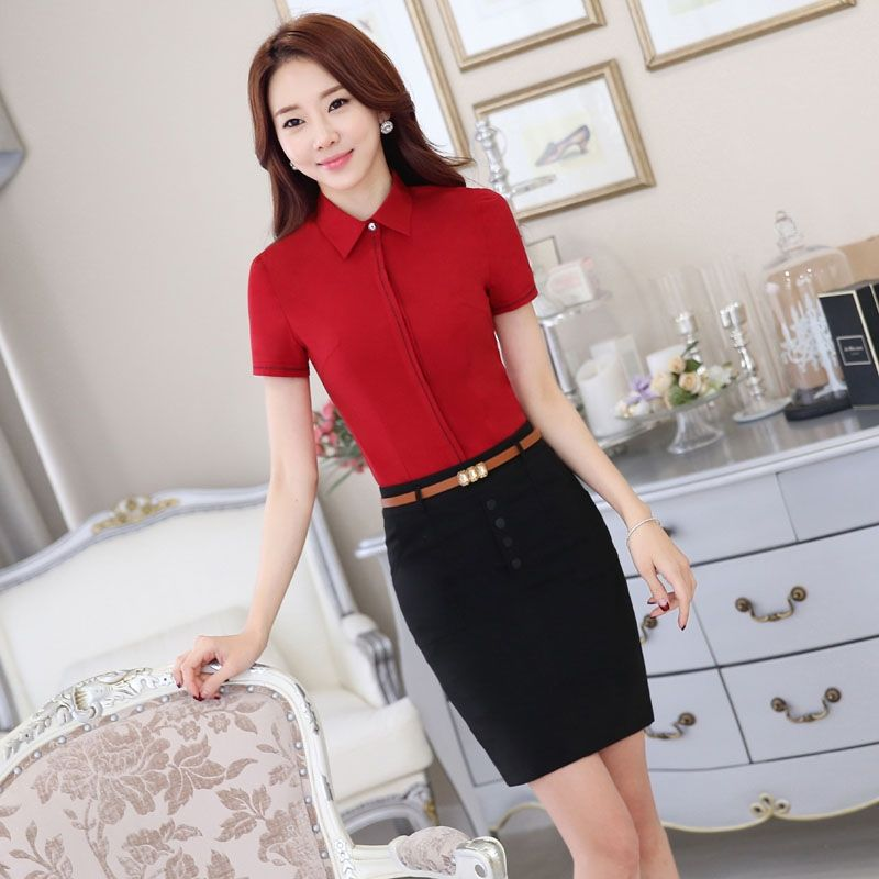 36da1ee7785fd Formal Uniform Style Summer Short Sleeve Professional Business Suits With 2  Piece Tops And Skirt Office Ladies Beauty Salon Sets