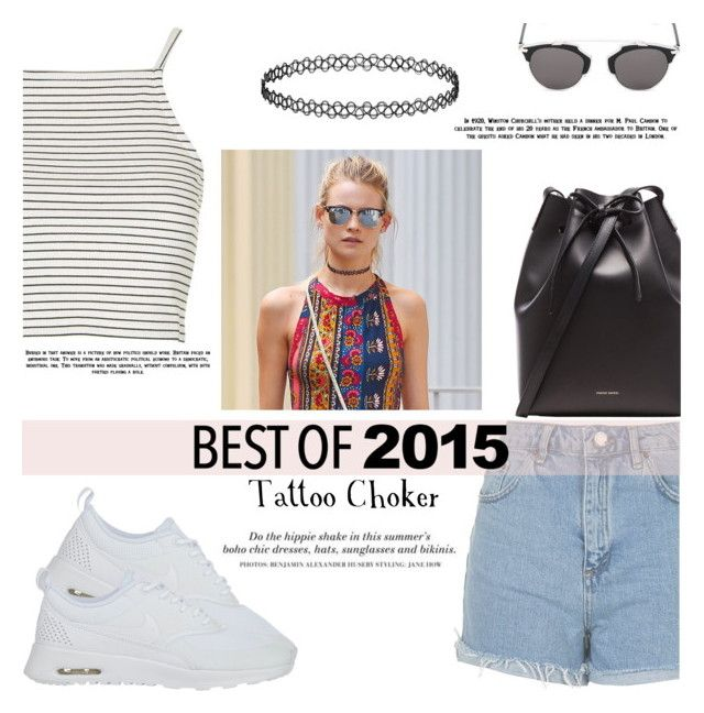 """""""Best of 2015 : Tattoo Choker"""" by igedesubawa ❤ liked on Polyvore featuring Topshop, NIKE, Mansur Gavriel, Christian Dior, H&M, contest, choker, polyvorecontest and bestof2015"""
