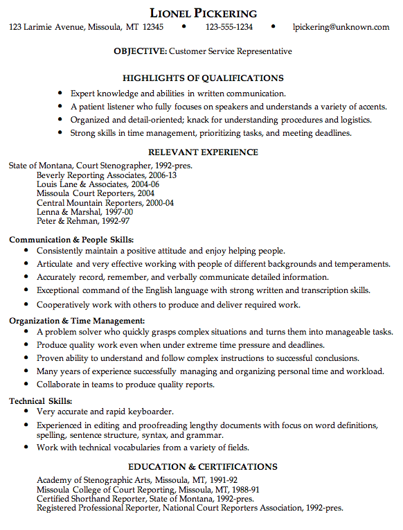 Combination Resume Sample Customer Service Rep Job