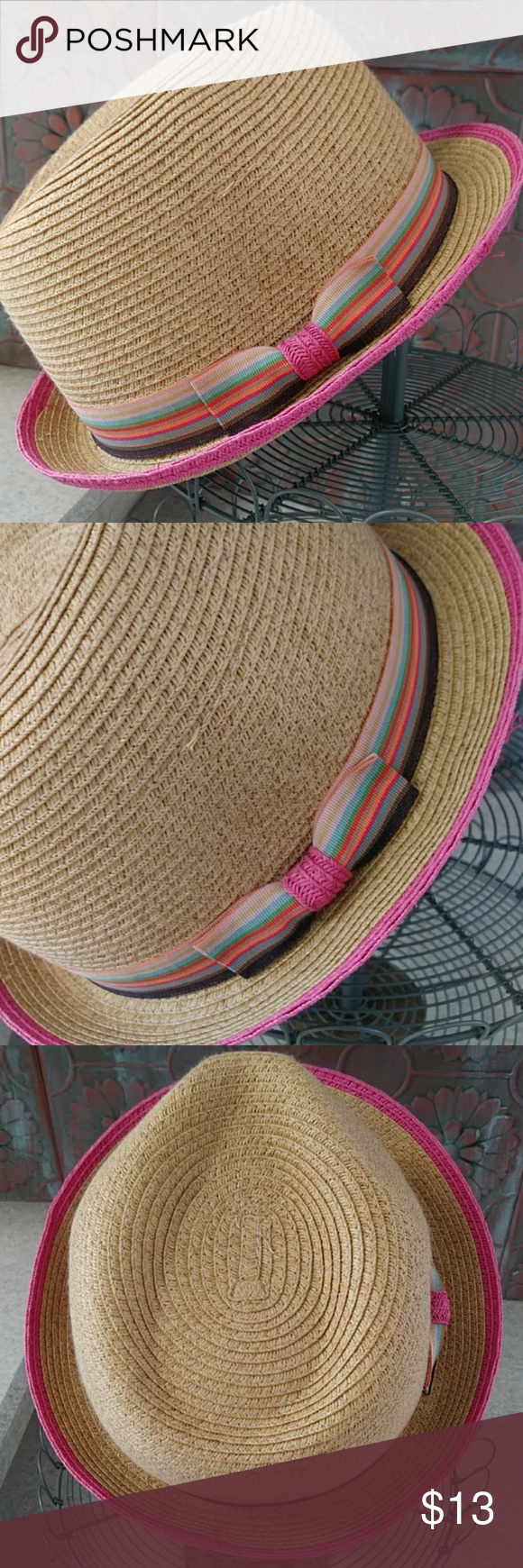 Cute straw hat w pink rim & multicolored ribbon This is a super cute women's hat. Straw type lightweight hat w pink trim. Has multicolored ribbon around w bow. Worn 1x. Great condition. unbranded Accessories Hats #pinkrims Cute straw hat w pink rim & multicolored ribbon This is a super cute women's hat. Straw type lightweight hat w pink trim. Has multicolored ribbon around w bow. Worn 1x. Great condition. unbranded Accessories Hats #pinkrims Cute straw hat w pink rim & multicolored ribbon This i #pinkrims