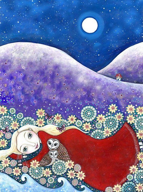 Womens Wall Art Print Summer meadow folk art painting girls wall ...