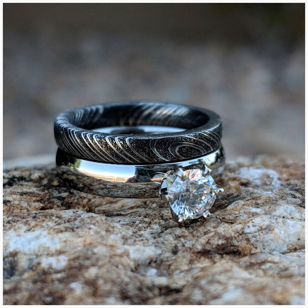 Damascus Steel Bridal Set Cobalt Chrome Engagement Ring