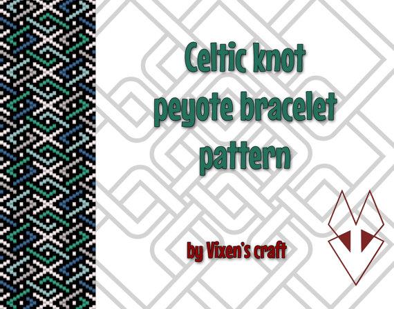 Celtic knot peyote bracelet pattern by Vixenscraft on Etsy