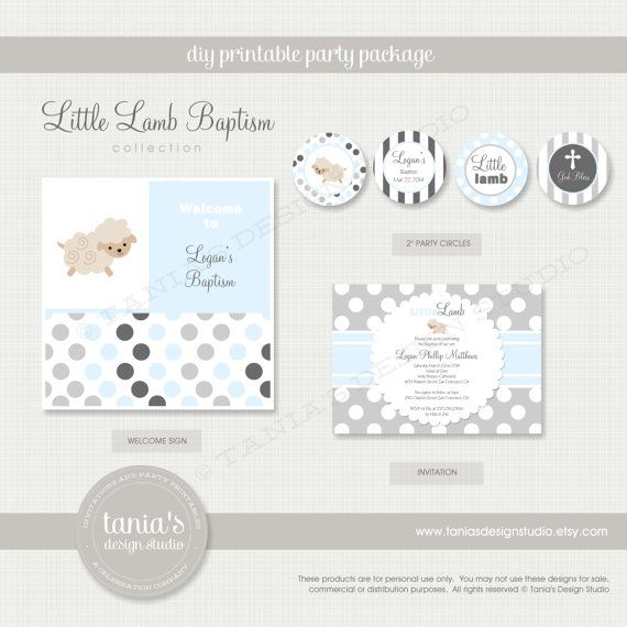 Little Lamb Baptism Printable Party Package by tania's design studio