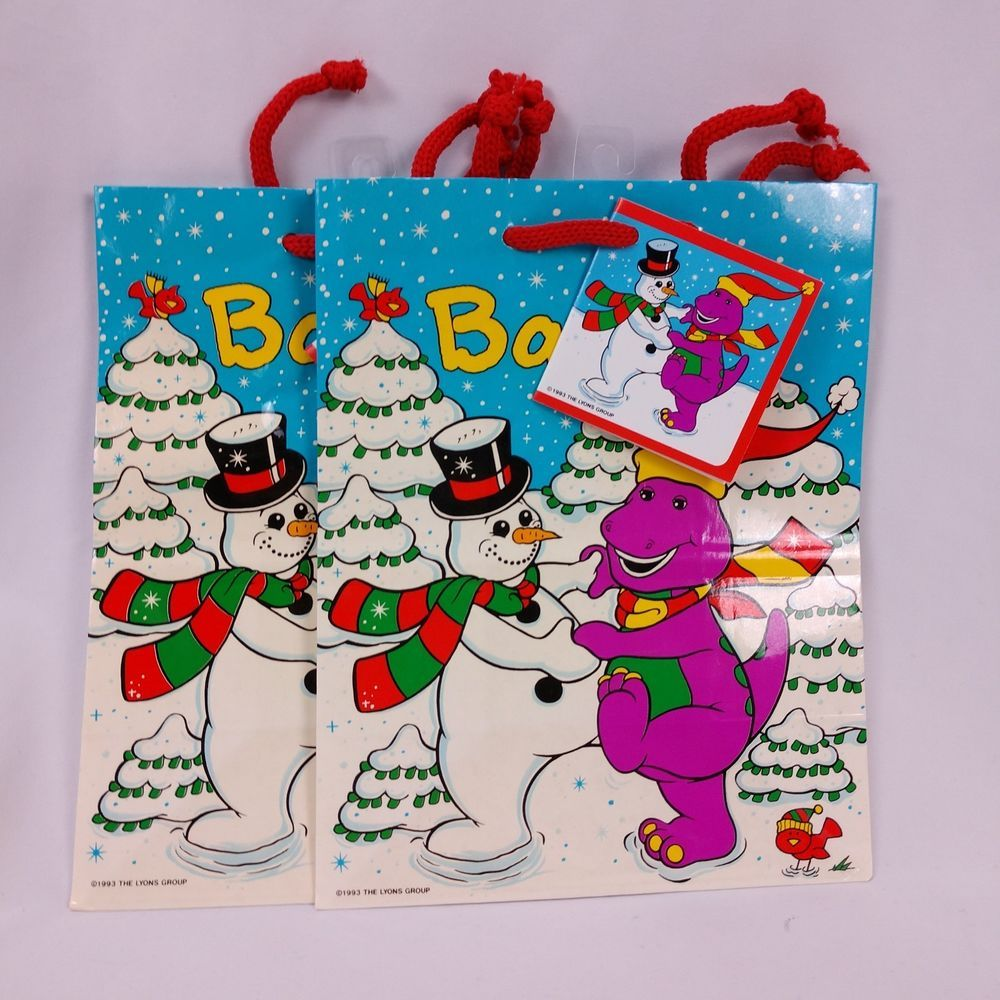 Features Barney Dancing With A Snowman Bags Are In Unused Condition Ebay Christmas Gift Bags Christmas Ephemera Barney Christmas