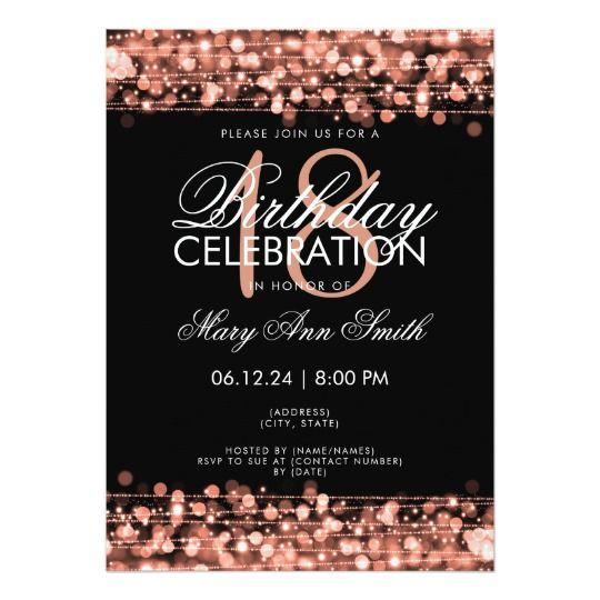 Classy 18th Birthday Party Sparkles Rose Gold Invitation Zazzle Com Invitation Anniversaire 18ans 18eme Anniversaire Invitation