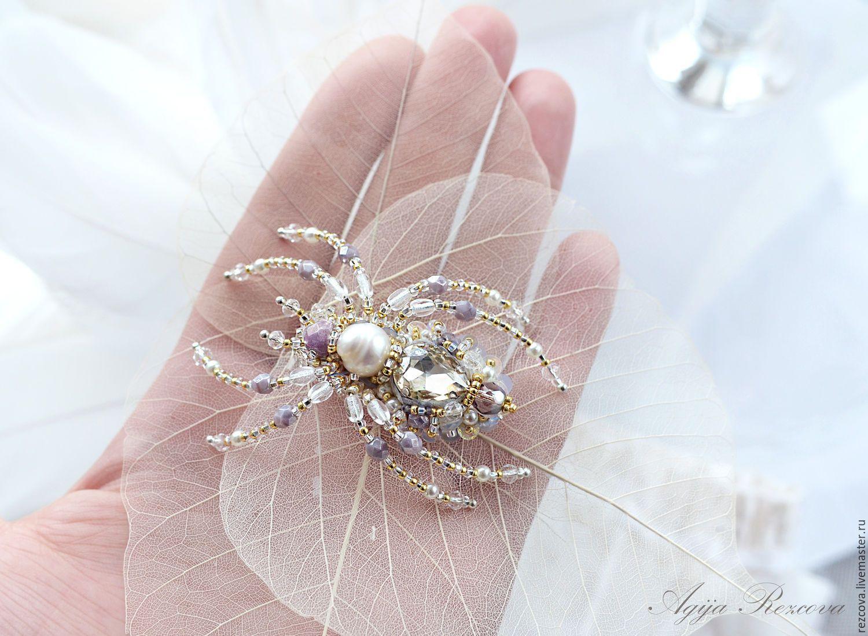 Купить Брошь - Паук - украшение насекомые, уникальный подарок, подарок для нее, уникальное украшение, agija rezcova